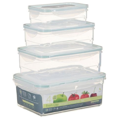 Set of 4 Large Rectangle BPA Free Plastic Food Storage Boxes